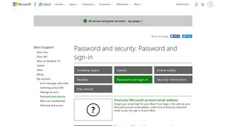 My account : Password and security - Xbox Support