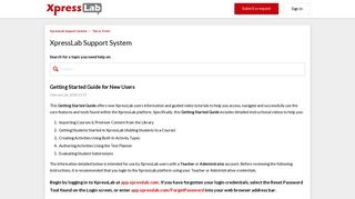 Getting Started Guide for New Users – XpressLab Support System