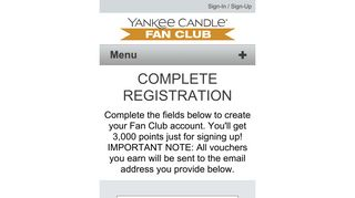 SIGN-UP NOW - Yankee Candle Fan Club