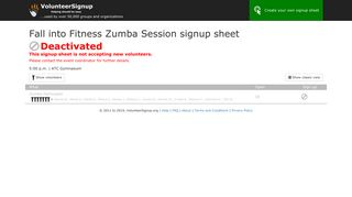Fall into Fitness Zumba Session signup sheet - VolunteerSignup