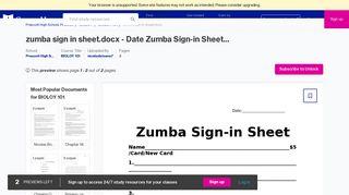 zumba sign in sheet.docx - Course Hero