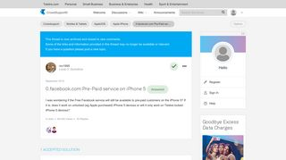 Solved: 0.facebook.com Pre-Paid service on iPhone 5 - Telstra ...