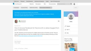 How to browse Facebook for free (ie with no data c... - Telstra ...