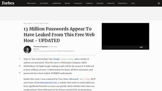 13 Million Passwords Appear To Have Leaked From This Free Web ...