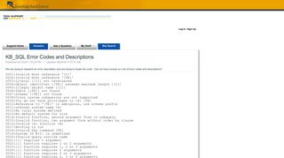 KB_SQL Error Codes and Descriptions - Support Home Page