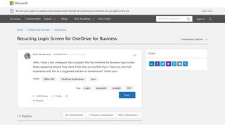 Recurring Login Screen for OneDrive for Business - Microsoft Tech ...