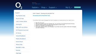 Accessing and using Send Text - Support - O2