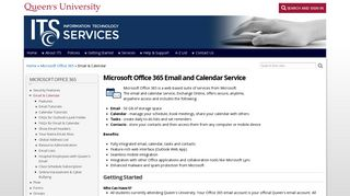 Microsoft Office 365 Email and Calendar Service - Queen's University