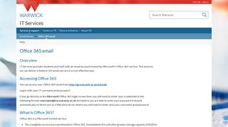 Office 365 email - IT Services - University of Warwick