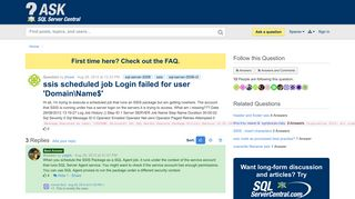 ssis scheduled job Login failed for user 'DomainName$' - SQL ...
