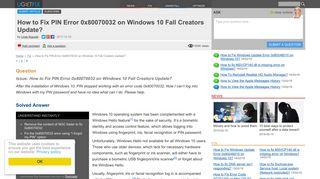 How to Fix PIN Error 0x80070032 on Windows 10 Fall Creators Update?
