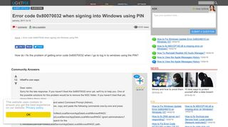 Error code 0x80070032 when signing into Windows using PIN