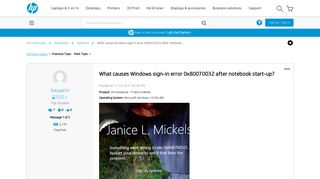 What causes Windows sign-in error 0x80070032 after notebook ...