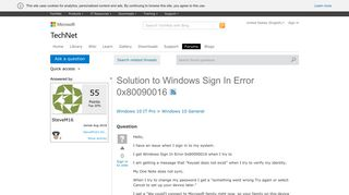 Solution to Windows Sign In Error 0x80090016 - Microsoft