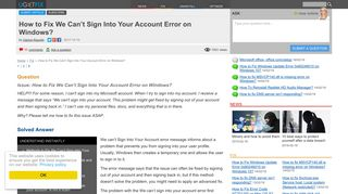 How to Fix We Can't Sign Into Your Account Error on Windows?