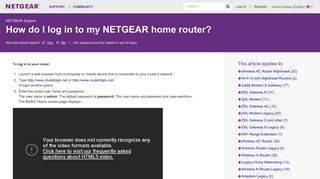 How do I log in to my NETGEAR wireless router? | Answer | NETGEAR ...
