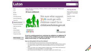 30 hours entitlement - Luton Council