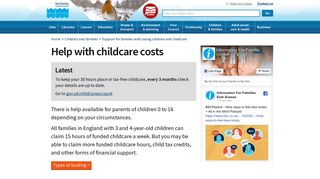 Help with childcare costs – East Sussex County Council