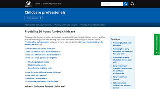 Surrey County Council - Providing 30 hours funded childcare