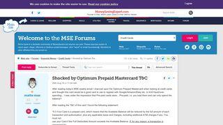 Shocked by Optimum Prepaid Mastercard T&C - MoneySavingExpert.com ...