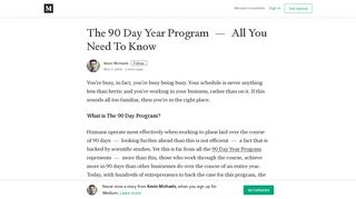 The 90 Day Year Program — All You Need To Know – Kevin Michaels ...