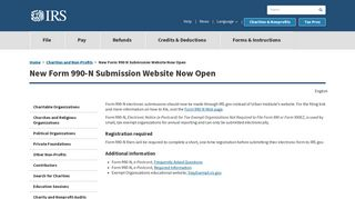 New Form 990 N Submission Website Now Open | Internal Revenue ...