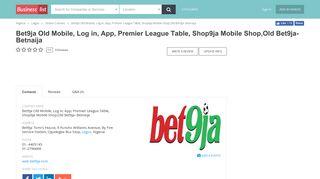 Bet9ja Old Mobile, Log in, App, Premier League Table, Shop9ja ...