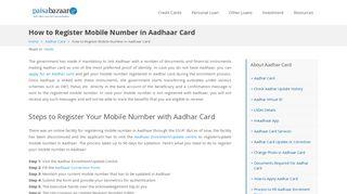 How to Register Mobile Number in Aadhar Card Online - Paisabazaar
