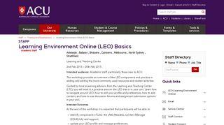 Learning Environment Online (LEO) Basics - ACU (Australian Catholic ...