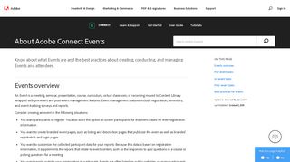 Learn about Adobe Connect Events and best practices for Events