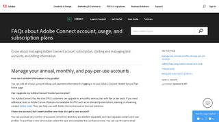 FAQs about Adobe Connect account, usage, and subscription plans