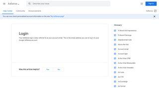 Login - AdSense Help - Google Support