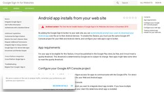 Android app installs from your web site   Google Sign-In for Websites ...
