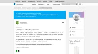 Telstra Air Android login issues - Telstra Crowdsupport - 532373