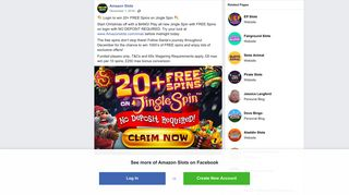Amazon Slots - Login to win 20+ FREE Spins on Jingle... | Facebook