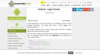 Android Login Screen - Tutorialspoint