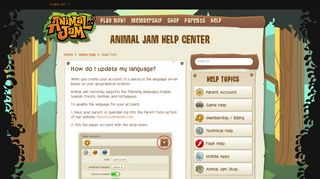 How do I update my language? – Animal Jam Help Center