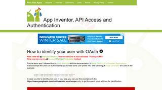 App Inventor Tutorials and Examples: User Identification | Pura Vida ...