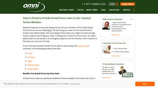Armed Forces Loans for our Brave Service Members | Omni Financial®