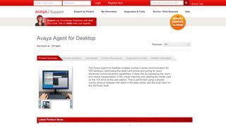 Avaya Support - Products - Avaya Agent for Desktop