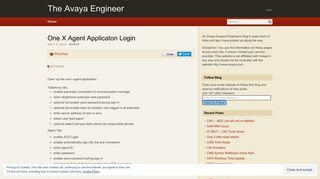 One X Agent Applicaton Login – The Avaya Engineer