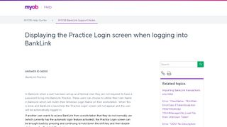 Displaying the Practice Login screen when logging into BankLink ...