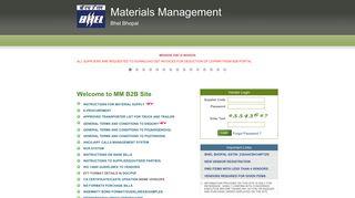 B2B Portal - Materials Management | BHEL Bhopal