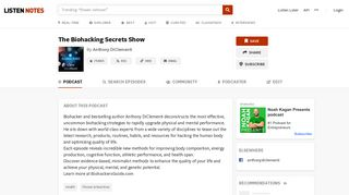 The Biohacking Secrets Show (podcast) - Anthony DiClementi   Listen ...
