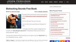 Biohacking Secrets Free Book - Jason Ferruggia