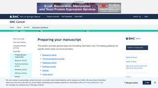 Preparing your manuscript - BMC Cancer - BioMed Central