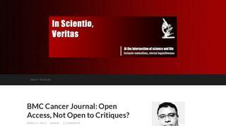 BMC Cancer Journal: Open Access, Not Open to Critiques? – In ...