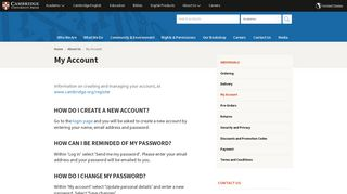 My Account | Cambridge University Press