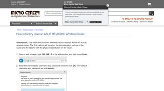 Micro Center - How to factory reset an ASUS RT-AC68U Wireless Router