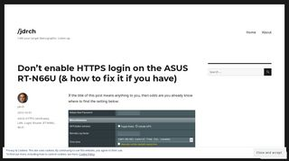 Don't enable HTTPS login on the ASUS RT-N66U (& how to fix it if you ...
